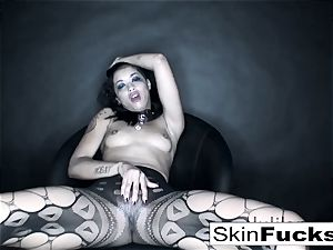 playing with her tight gash wearing mind-blowing fishnets