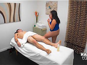 Hidden camera massage sofa fuck-fest