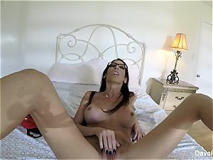 buxomy black-haired Dava's home vid onanism