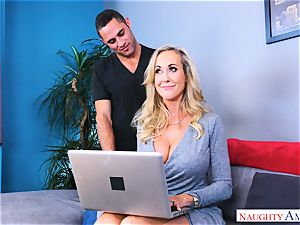 Brandi enjoy yam-sized orb milf bangs stud