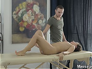 wish honey Lena vag rides the massagist until he concluded on her rump