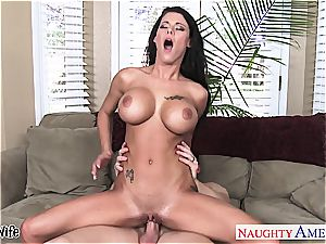 huge-chested wife Peta Jensen railing bone