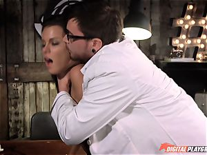 brunette Peta Jensen hammered in the lab