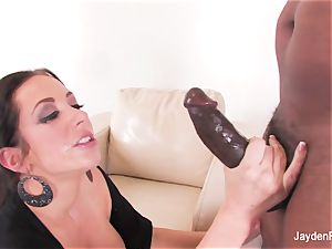 huge-boobed babe Jayden takes a ginormous ebony weenie from Mr Marcus