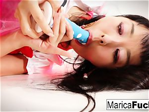 Marica Hase uses a glass fucktoy