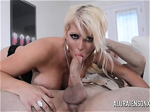 huge-titted light-haired Alura Jenson enjoys a boy in uniform
