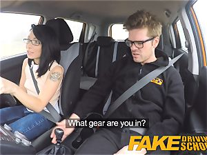 fake Driving school horny ride for smallish brit asian