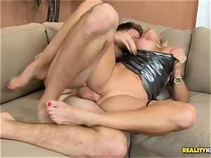 Dani Dare pulverized on the bed