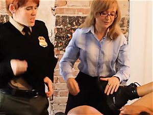 SEXYMOMMA-Ebony jail guard strap on dildo screwed in the arse