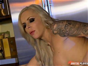 Vampiress Nina Elle bj's trouser snake before nibbling her gimp