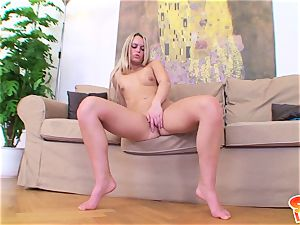Sabrina blond paws out her nubile cooter