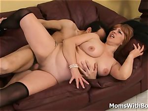 hefty titty sandy-haired cougar Calliste poon boink In stockings