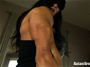 Muscle corded mummy uses her glass dildo till she shoots a load
