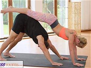 FitnessRooms sweaty bosom in a room utter yoga stunners