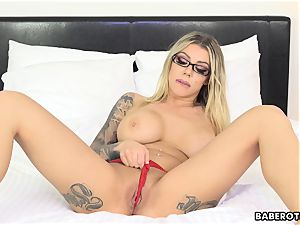nasty Karma RX playthings her rump with a fake penis solo
