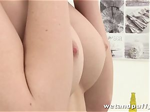 slim sweetheart Charlotte taunting her slick vag