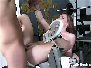 red haired silly gets boinked rock-hard in the gym