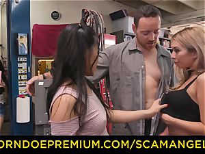 SCAM ANGELS - Blackmail 3 way hump with nasty honies