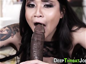 huge-titted babe gargles a massive black sausage really firm