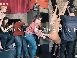 big-titted blonde gets hard-core humping in restrain bondage soiree