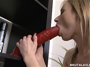 bony Russian rides and cums on a gigantic violent fuck stick