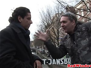 Dutch call girl jerking tourits man sausage