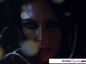 Jessica Jaymes deep-throating and poking a giant penis