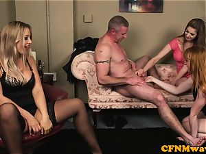 euro CFNM mummy shares her slave spouse