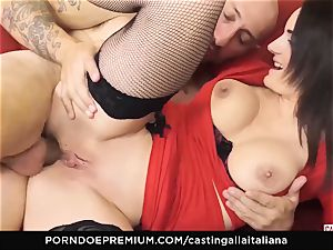 casting ALLA ITALIANA - buxomy dark-haired loves wet ass fucking