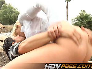 blondie babe Phoenix Marie with large bosoms public tear up