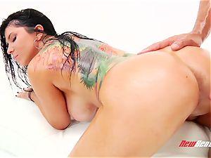 super-naughty sultry brazilian porno star Romi Rain gets her hefty well-lubed bra-stuffers titfucked