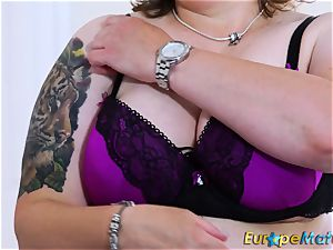 EuropeMaturE huge-boobed obese Solo frolicking getting off