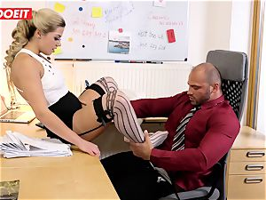 Stepdaughter joins daddy in drilling the office assistant