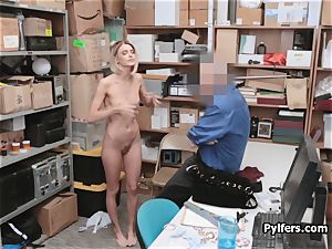 slender perky thief gets on her knees to get out