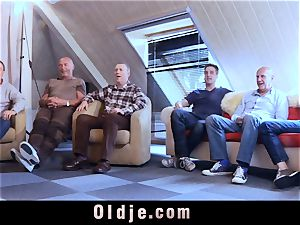 six oldman plowing in group a fantastic scorching blonde