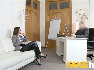 fake Agent Money drives lovely clean-shaved muff teenage