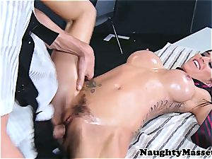 stunner with glossy jugs gets a internal ejaculation