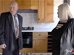 AgedLovE Mature female Lacey Starr gargling rigid man sausage