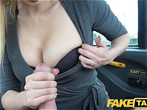 fake taxi huge-chested towheaded mummy Amber Jayne deepthroats and humps