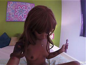 sweetie flesh Diamond fucktoys her cock-squeezing vag in bed