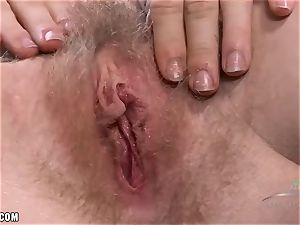 Ivy fondles her furry engorged clit