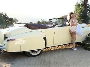 Lana Rhoades antique car beaver have fun