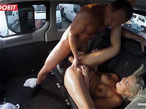 platinum-blonde ultra-cutie splatters all over the backseat of a van