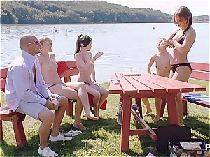 fortunate stud having a good time at the lake pt 1