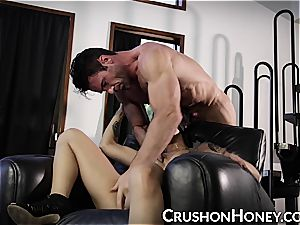 CrushGirls - diminutive stunner Gold blinded and nailed
