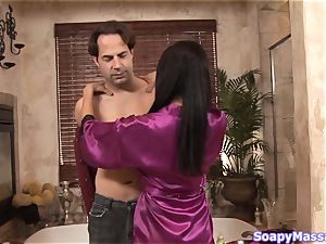 Vicki chase massages him down rock-hard in the soapy rubdown apartment