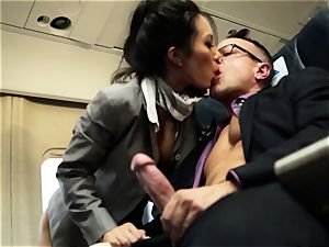 Asa Akira and her hostess friends plumb on flight
