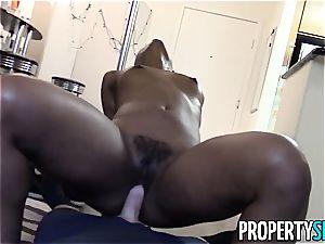 splendid dark-hued stripper pummels her landlord