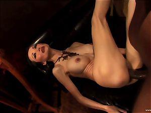 Ange Venus getting pinned down on bed by dark-hued man