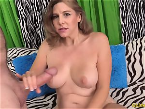 sexy mature gal takes trouser snake